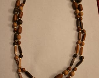 Extra Long Multi-color Beaded Wood Necklace