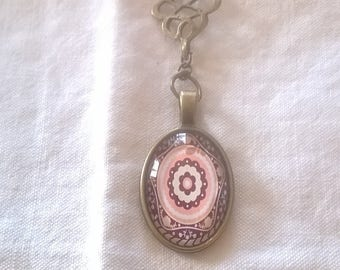bronze glass cabochon pendant a gorgeous pink rosette