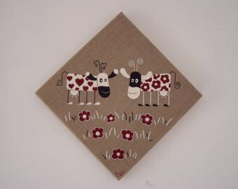 """""""Cows with hearts and flowers"""" on order"""