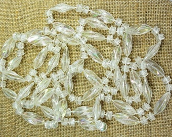 "VTG Necklace Clear Sturdy Plastic Beads Various Shapes overall length:60""  ET7911"