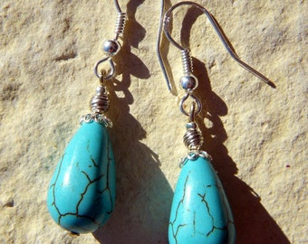 BUCKLES of ears Silver 925 stone TURQUOISE Turkenite drop