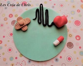 nurse badge, nurse, doctor, pediatrician in polymer clay.