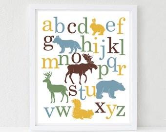 Woodland Alphabet Poster, Nursery Art Print, Kids Wall Art, Deer, Bear, Fox, Moose, Choose Your Custom Colors