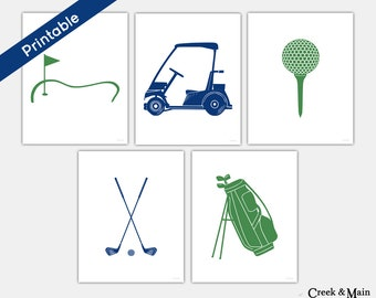 Kids Golf Wall Art, Printable, Golf Nursery Art, Golf Bag, Golf Tee, Golf Cart, Golf Clubs, Kids Bedroom Decor, Green and Navy Blue