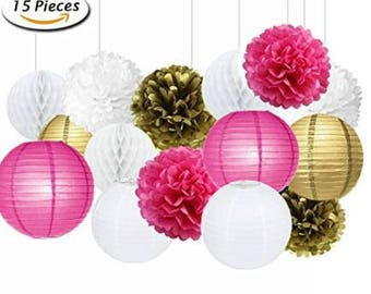 Set of 15 Mixed Rose Red White Gold  Party Tissue Pom Poms Pompoms Paper Lantern Baby Shower Birthday Wedding Hanging Decoration