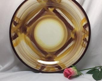 "12"" Serving Platter Vernon Kilns Organdie Yellow and Brown"