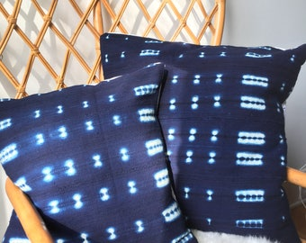 "Amazing Antiqued Shibori Indigo African Mudcloth Hand Stitched Pillow Cover - 16"" x 26"" -  - 20"" x 20"" - 25"" x 25"" - also available"
