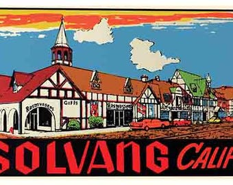 Vintage Style  Solvang California   Hot Rod   1950's   Travel Decal sticker