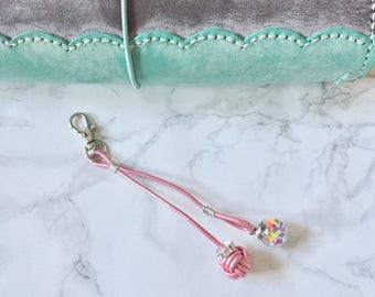 Monkey fist knot planner charm / purse charm / key ring with glass bowl
