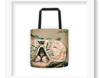 Free Shipping : Hipster Cat Tote Bag