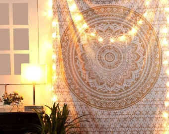 Gold Mandala Cotton Tapestry Single Cotton Printed Wall Hanging Dorm Decor Tapestries,84 X 54 Inches