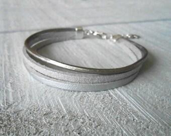 Bracelet multi-row leather silver/glitter