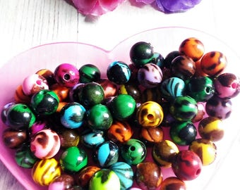 20 round beads 10 mm marbled acrylic