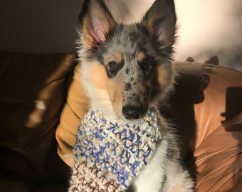 Blue and Tan Crochet Dog Scarf