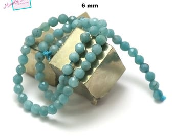 """39cm 63 pcs amazonite wire """"6 mm faceted round"""", natural stone"""