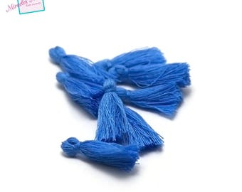 10 25 mm cotton tassel, electric blue