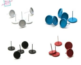 """10 support cabochon """"10 mm round"""" earring chip, 4 colors"""