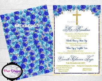 Mi Bautizo Invitations, Bautizo Invitation, Boy Bautizo Invitations, Invitaciones Bautizo, Spanish Bautizo Invitations, Blue Flowers