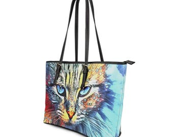 Large Vegan Leather Tote - Artistic Cat with Bubbles