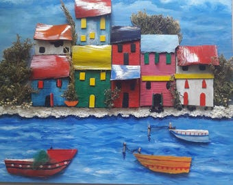wooden art ,wall decor ,hand made colour houses