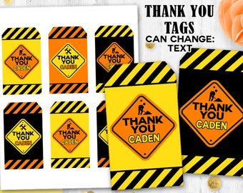 Construction site thank you tags Gift tags Birthday tags Construction tags Work site signs tags