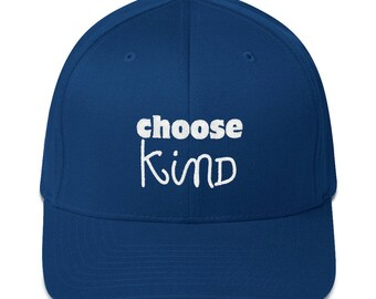 Choose Kind Wonder RJ Palacio anti bullying kindness positive message, acceptance, perserverance, school Fitted Embroidered Twill Cap