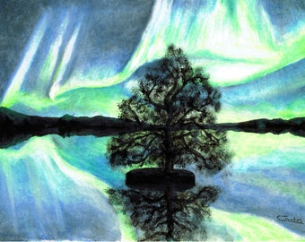 Lake Aurora - Original Artwork - Oil Pastels