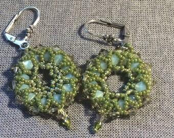 Flower crystal earrings * green/Turquoise