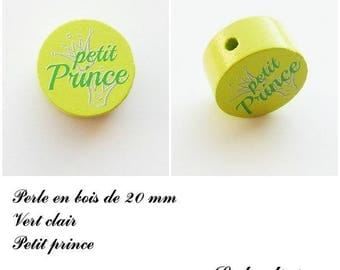 Wooden bead with 20 mm flat bead, little prince, Crown: light green