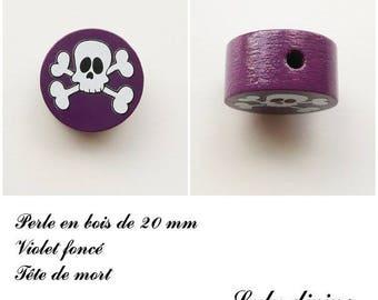 Wooden bead of 20 mm, flat, skull bead: dark purple