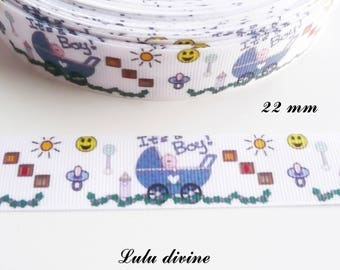 Ruban gros grain blanc It's a boy (C'est un garçon) Landau bleu de 22 mm vendu par 50 cm