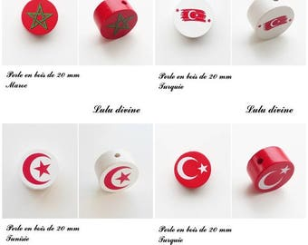 Wooden bead of 20 mm, flat bead: Turkey / Morocco / Tunisia