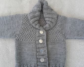Grey,shawl collar,textured cardigan,boys cardigan,girls cardi, 0-6 months.