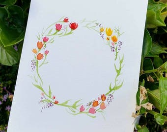 Tulip Floral wreath greeting thank you card