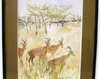 4 Gazelles - 70's watercolor painting