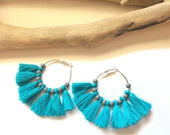 Elegant hoops & blue tassels! Large earrings, tassel pom pom pom pom earrings blue fancy Bohemian style