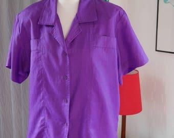 Vintage 1980s purple blouse with shoulder pads size 12 - Retro