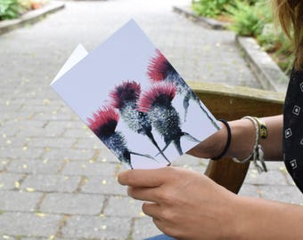 Thistle Watercolor Illustration Notecard