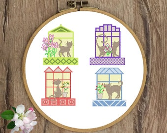 Cats cross stitch pattern Funny cross stitch Cat cross stitch animals Modern Floral Cats on the windows cross stitch pattern pdf