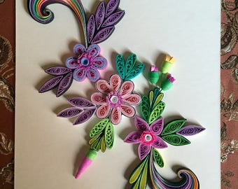 Flower Design: Handmade Quilling Art Paper-Quilled Art Flower-Wall Art Picture-House Warming Gift-Special Flower Design-Gift For Occasions