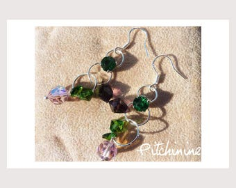 Earrings-pierced silver Sterling and Swarovski Crystal green and purple