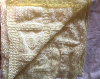 Hand-Knitted Lemon Heart Blanket