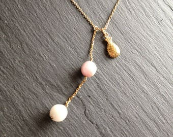 Necklace pastel balls semi-precious & pineapple