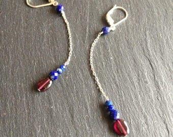 long earrings red Garnet and blue lapis lazuli