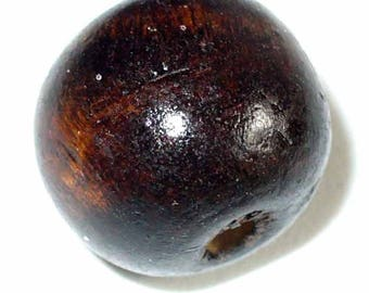 Wood 1 bead ball 18mm BR08 chocolate chocolate