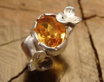 Bague fleur argent et citrine ovale