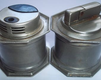 2 Vintage Collectible Gas Gilde Zinn 95% Table Cigarette Lighters from 1980s