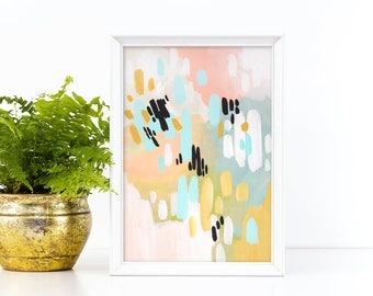 """small abstract painting, acrylic painting, original painting, pastel colors abstract painting, original art, modern art - """"Pale Morning"""""""