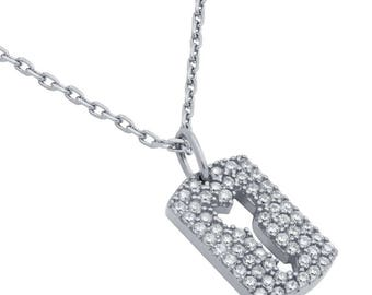 """Rhodium plated cz pave tag necklace with cutout arrow 16"""" + 2"""""""