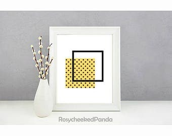 Geometric square print,printable wall art print,instant digital download,geometric art,polka dot print,minimalist home décor,yellow,black